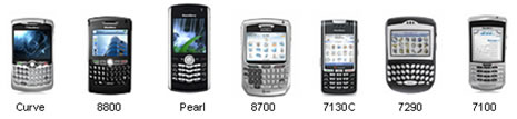 Sample list of supported Blackberry devices